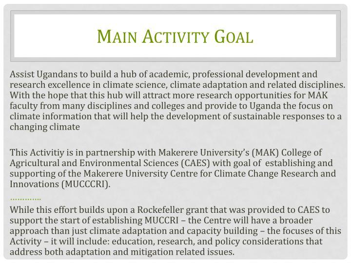 Main Activity Goal