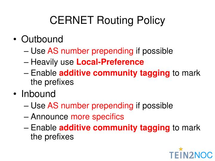 CERNET Routing Policy