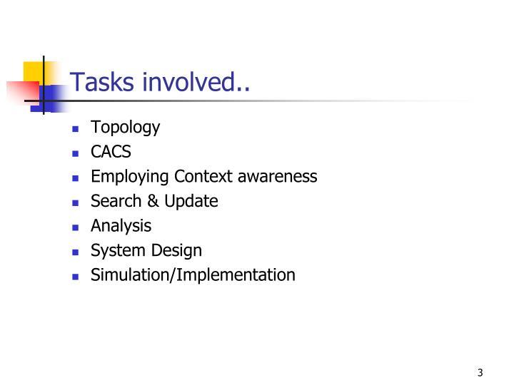 Tasks involved..