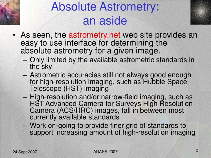 Absolute astrometry an aside