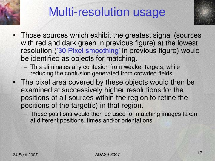 Multi-resolution usage