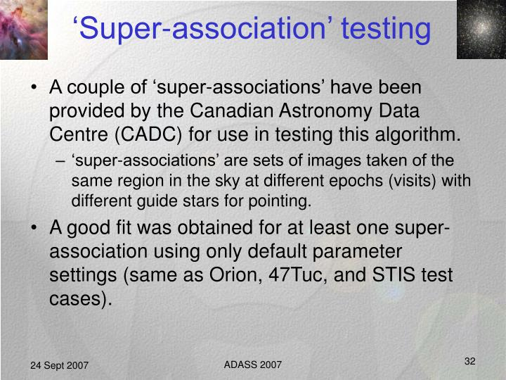'Super-association' testing