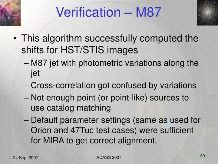 Verification – M87