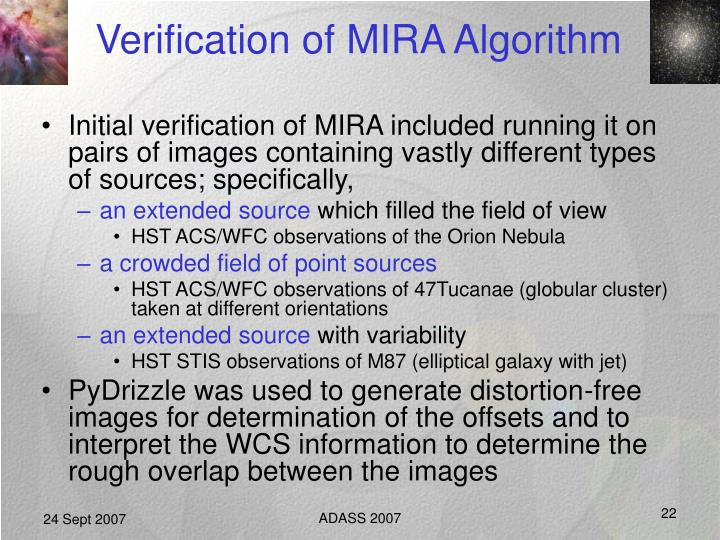 Verification of MIRA Algorithm