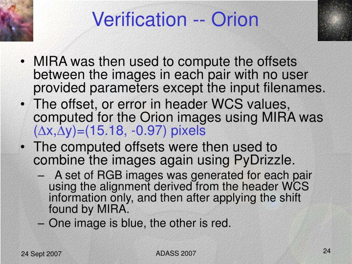 Verification -- Orion