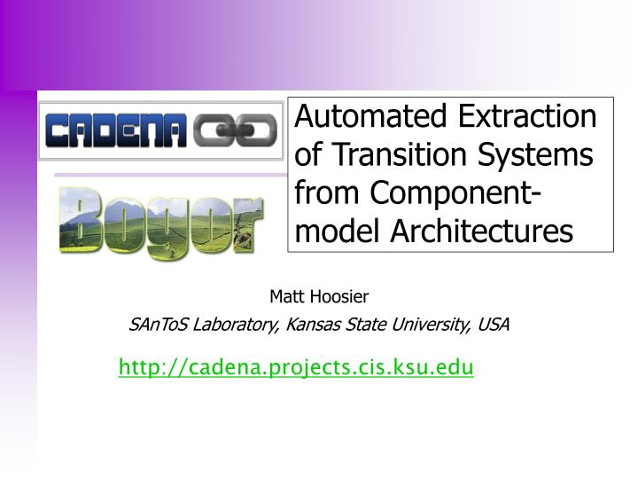 Automated extraction of transition systems from component model architectures