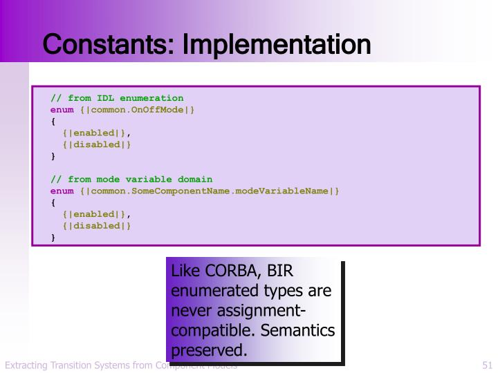 Constants: Implementation