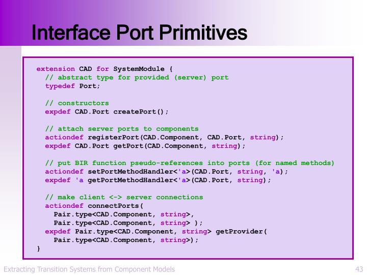 Interface Port Primitives