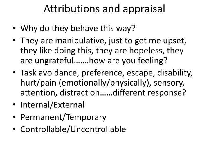 Attributions and appraisal