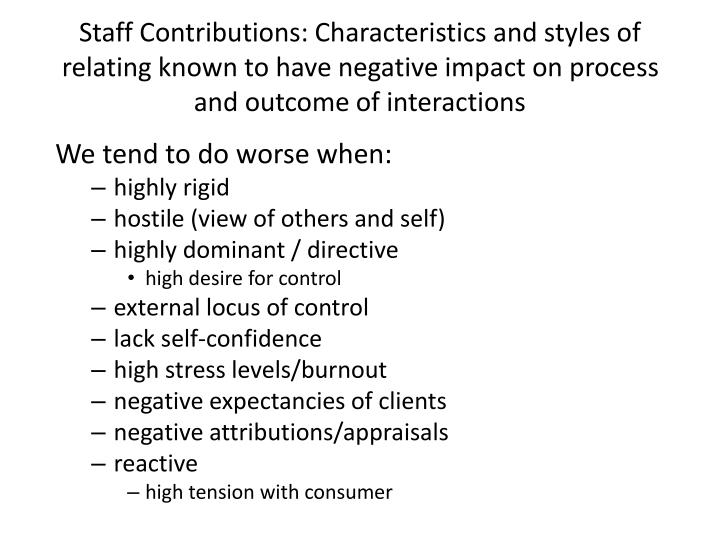 Staff Contributions: Characteristics and styles of relating known to have negative impact on process and outcome of interactions
