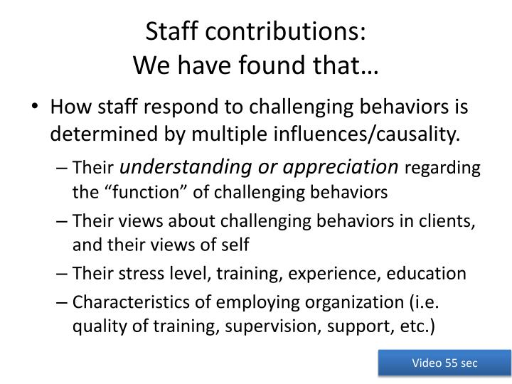 Staff contributions: