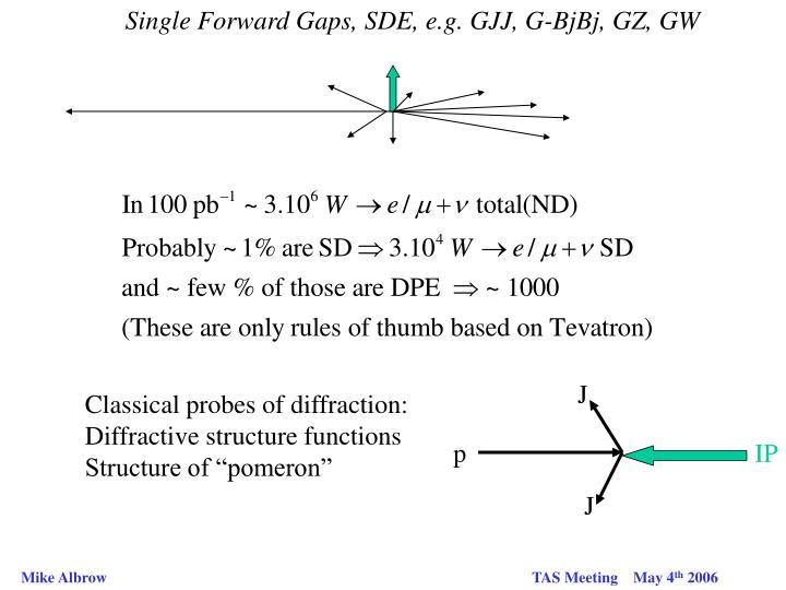 Single Forward Gaps, SDE, e.g. GJJ, G-BjBj, GZ, GW