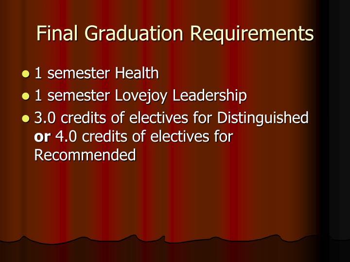 Final Graduation Requirements