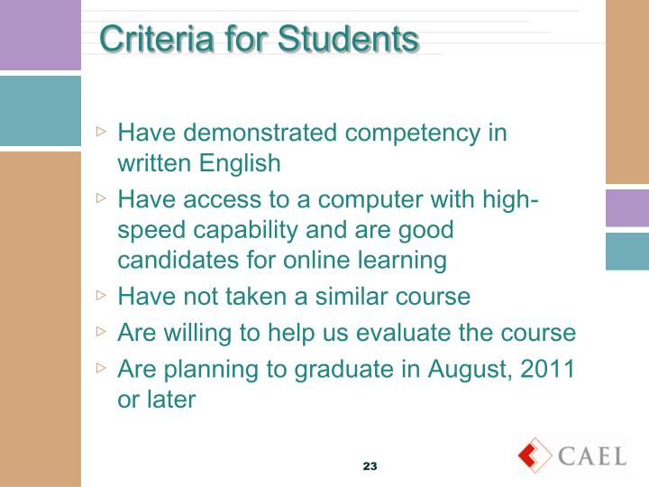 Criteria for Students