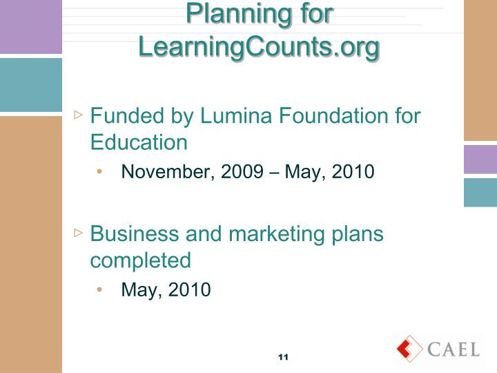 Planning for LearningCounts.org