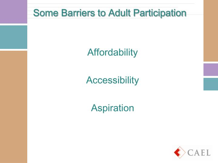 Some Barriers to Adult Participation