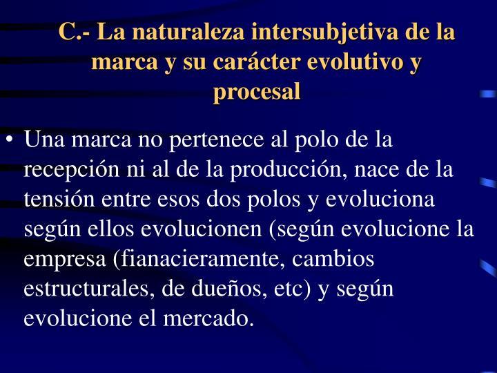 C.- La naturaleza intersubjetiva de la marca y su carácter evolutivo y procesal