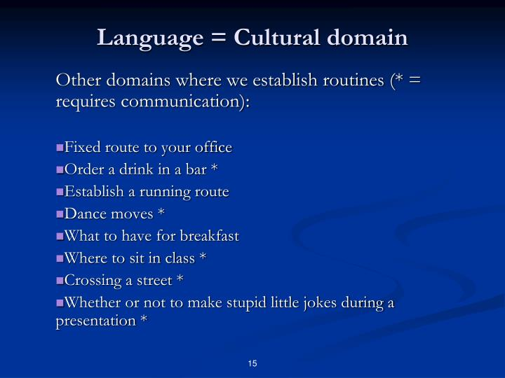 Language = Cultural domain