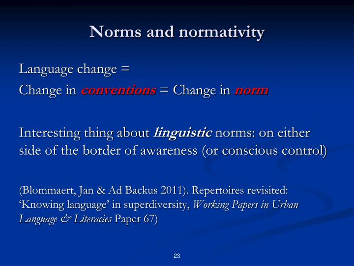 Norms and normativity