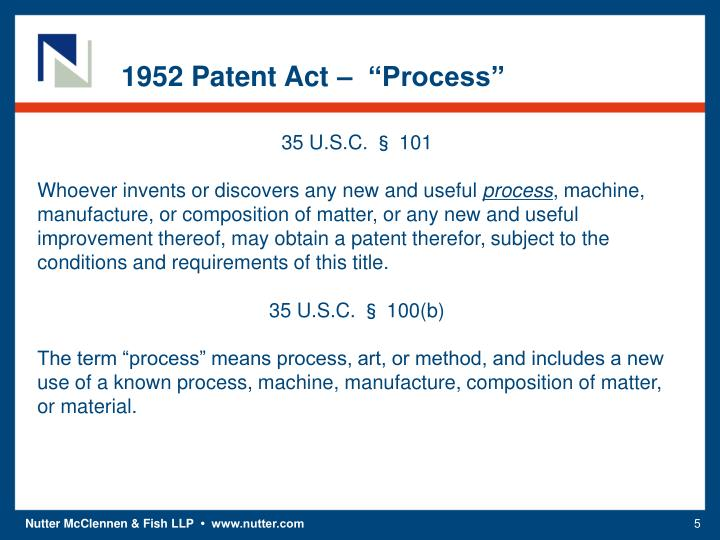 "1952 Patent Act –  ""Process"""