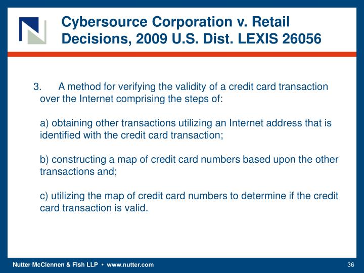 Cybersource Corporation v. Retail Decisions, 2009 U.S. Dist. LEXIS 26056