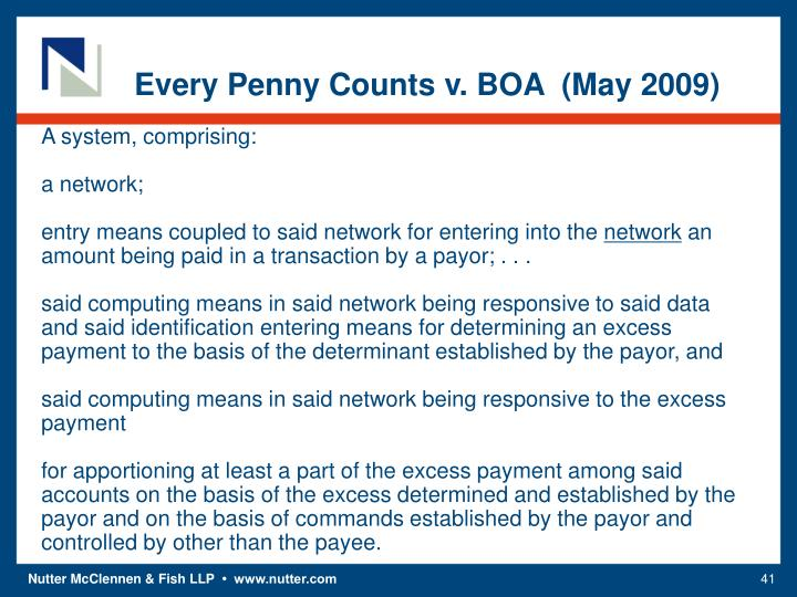 Every Penny Counts v. BOA  (May 2009)