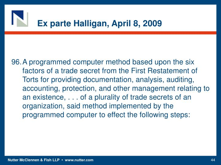Ex parte Halligan, April 8, 2009