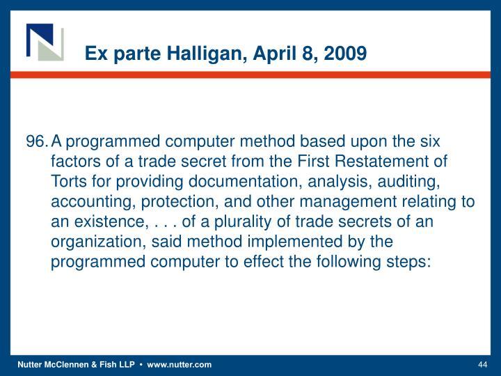 Ex parte Halligan, April 8, 2009