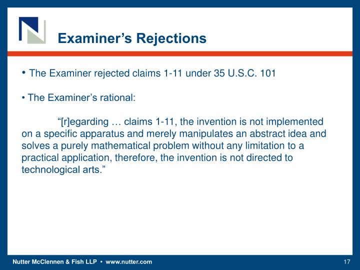 Examiner's Rejections