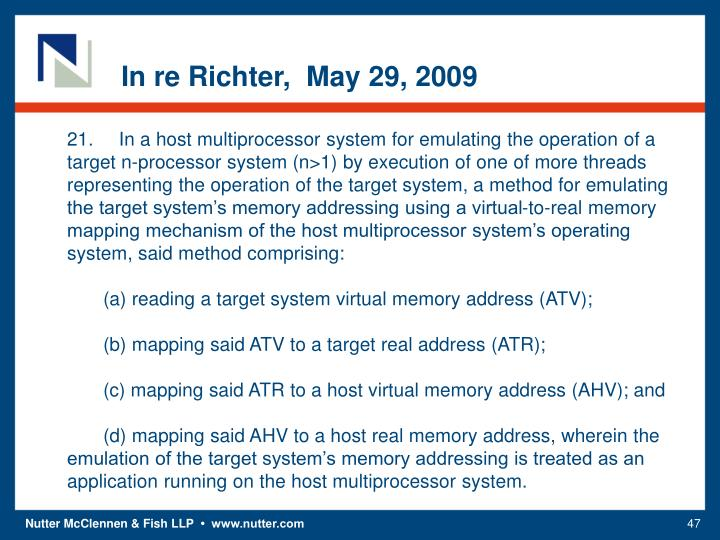 In re Richter,  May 29, 2009