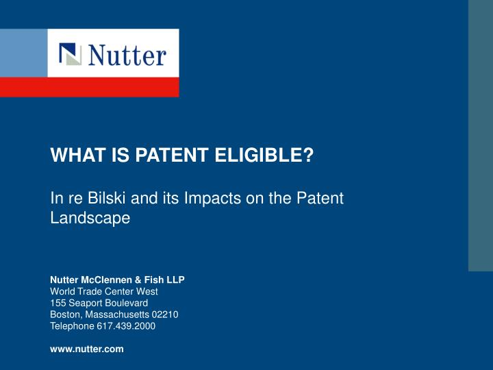 What is patent eligible