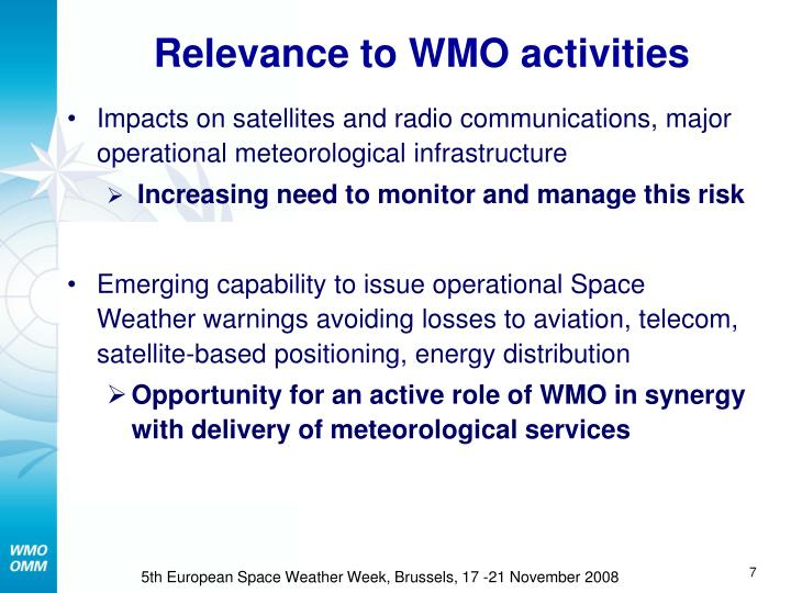 Relevance to WMO activities