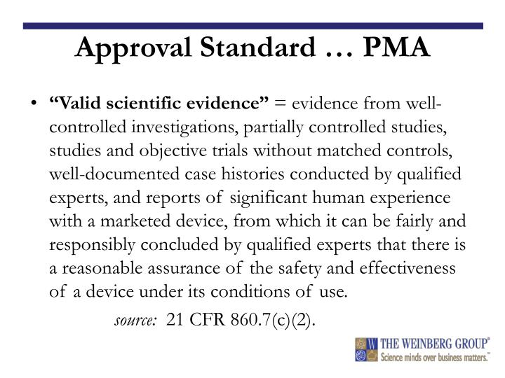 Approval Standard … PMA