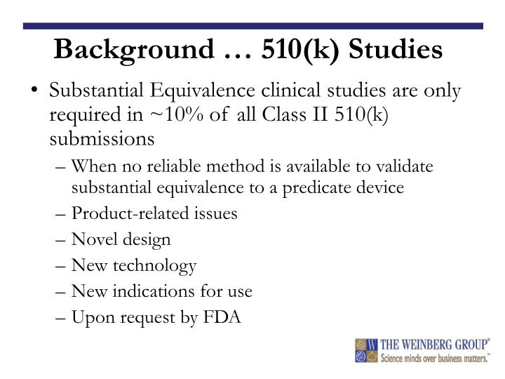 Background … 510(k) Studies