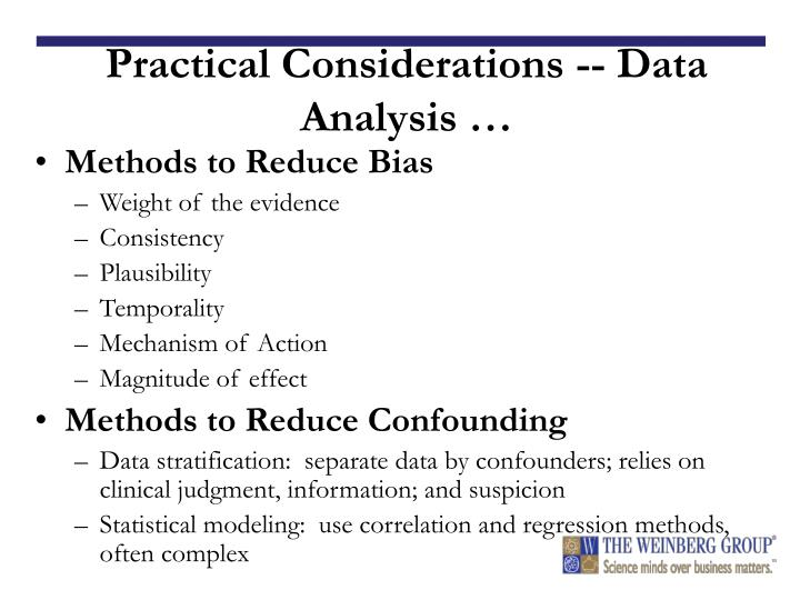 Practical Considerations -- Data Analysis …