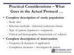 practical considerations what goes in the actual protocol1