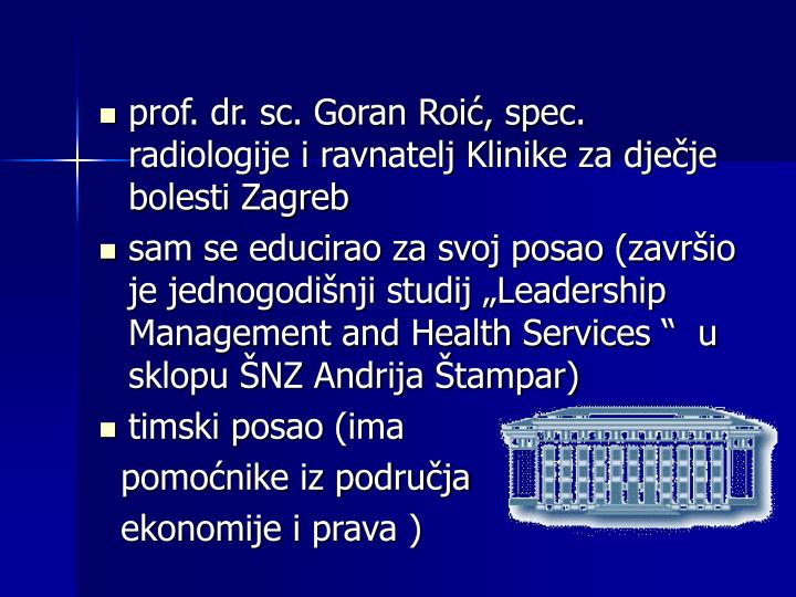 prof. dr. sc. Goran Roić, spec. radiologije i ravnatelj Klinike za dječje bolesti Zagreb