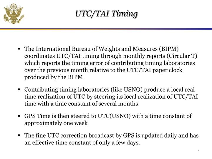 UTC/TAI Timing