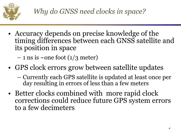 Why do GNSS need clocks in space?