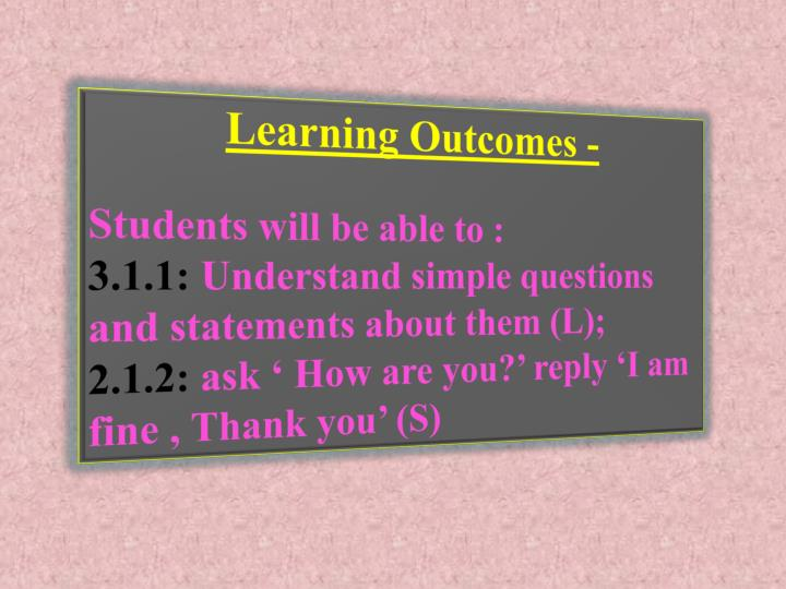 Learning Outcomes -