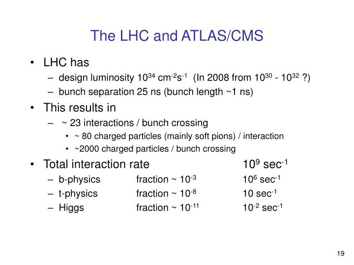 The LHC and ATLAS/CMS