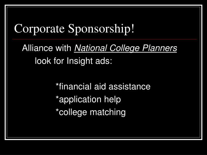 Corporate Sponsorship!