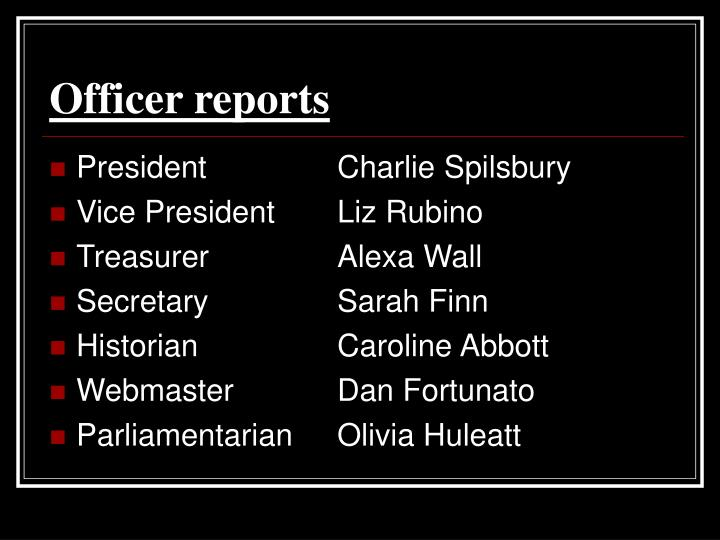 Officer reports