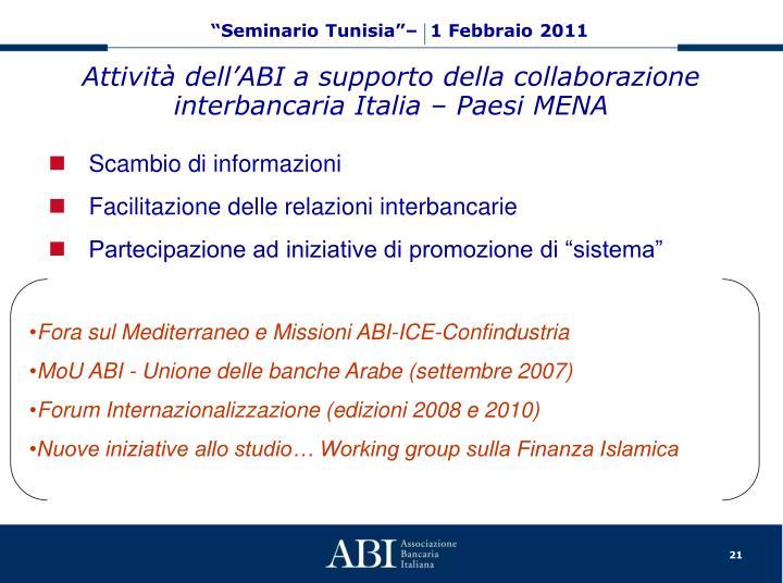 Attività dell'ABI a supporto della collaborazione interbancaria Italia – Paesi MENA