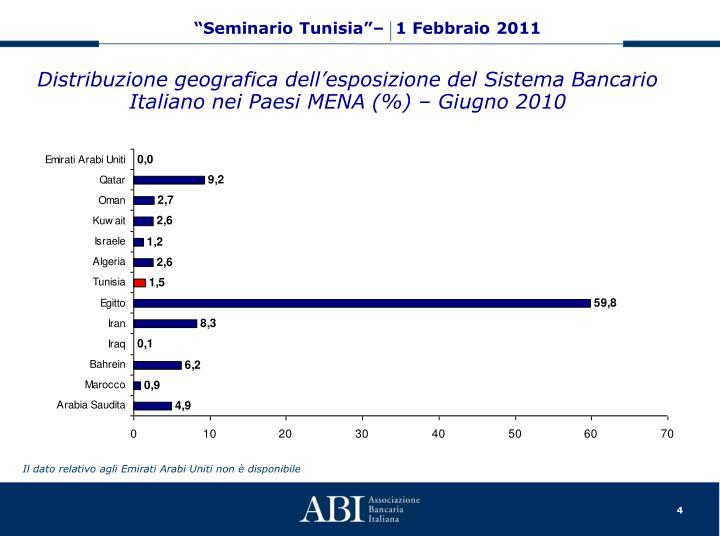 Distribuzione geografica dell'esposizione del Sistema Bancario Italiano nei Paesi MENA (%) – Giugno 2010