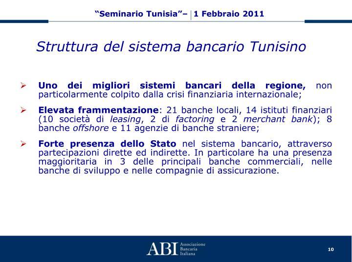 Struttura del sistema bancario Tunisino