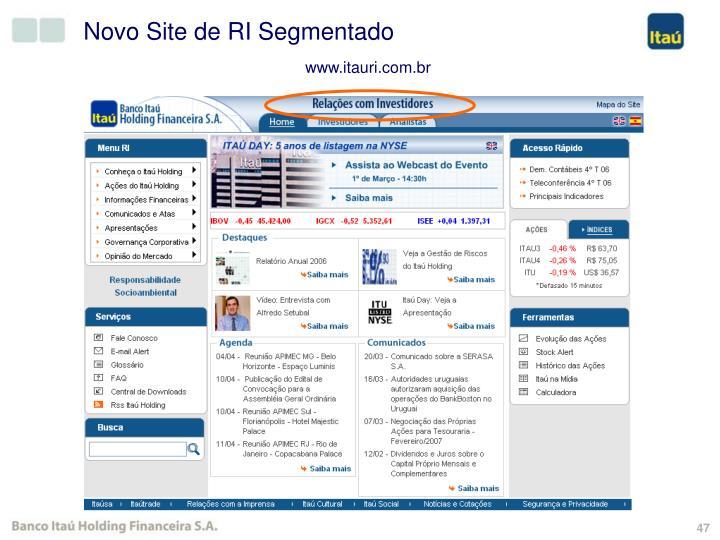 Novo Site de RI Segmentado