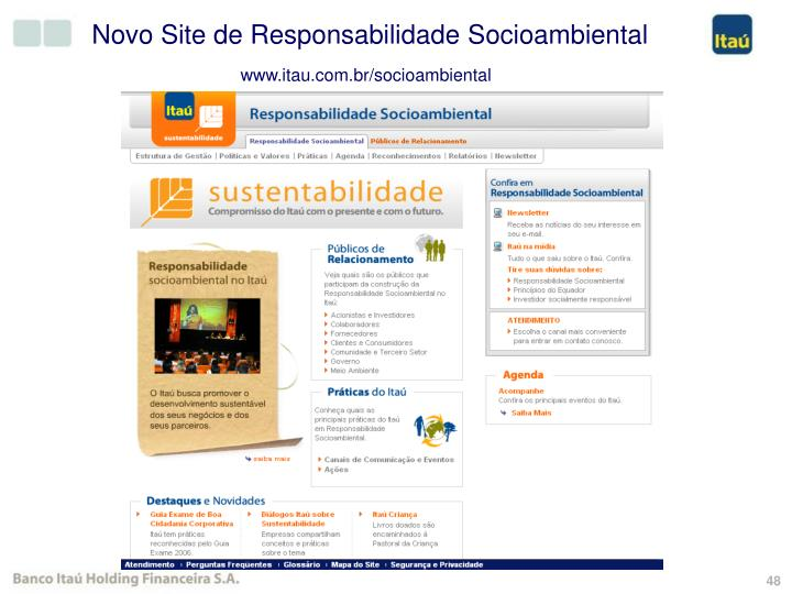 Novo Site de Responsabilidade Socioambiental