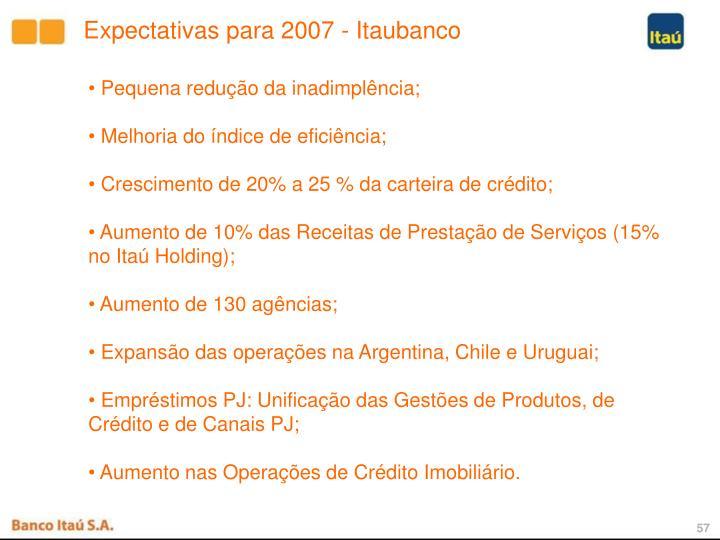 Expectativas para 2007 - Itaubanco