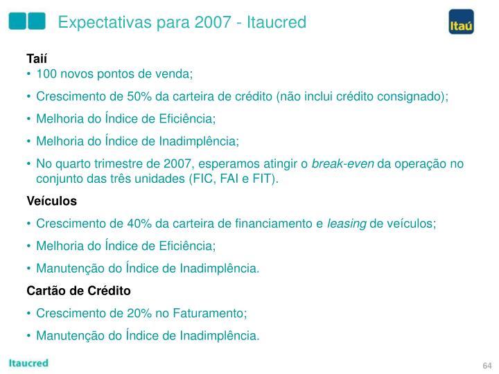 Expectativas para 2007 - Itaucred